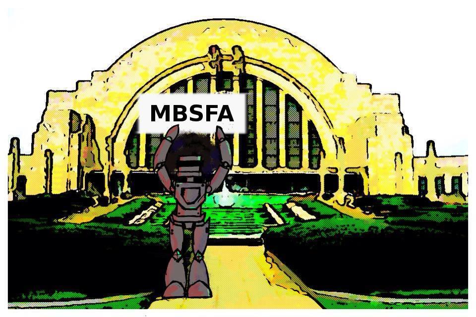 "MBSFA's ""Fro-bot"" mascot."